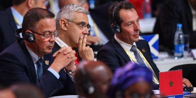 Des membres de la délégation marocaine lors du congrès de la FIFA, le 13juin 2018, à Moscou.