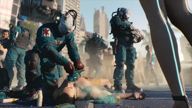 Dans le futur de «Cyberpunk 2077», des ambulanciers lourdement armés interviennent en toutes circonstances pour sauver les citoyens les plus fortunés.