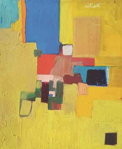 """«Au tout début des années 1960, alors en Californie, Etel Adnan décide de se mettre à la peinture et prend des cours. Elle dira à cette époque : """"J'avais cessé d'écrire en français pour peindre en arabe."""" On sent ici son intérêt pour Nicolas de Staël, Kandinsky, Malevitch et Paul Klee. Cette abstraction colorée, avec aplats de couleurs, est un concentré de lumière qu'elle construit au couteau.»"""