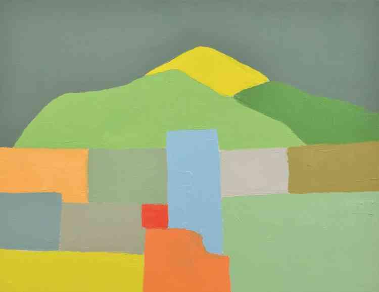 «La montagne est aussi un motif qui revient constamment dans son œuvre. Elle se réfère souvent aumont Tamalpais, montagne faisant partie des chaînes côtières californiennes et située dans le nord de la baie de San Francisco. Elle en restitue les différences en fonction des saisons, même si on a le sentiment de retrouver la même.»