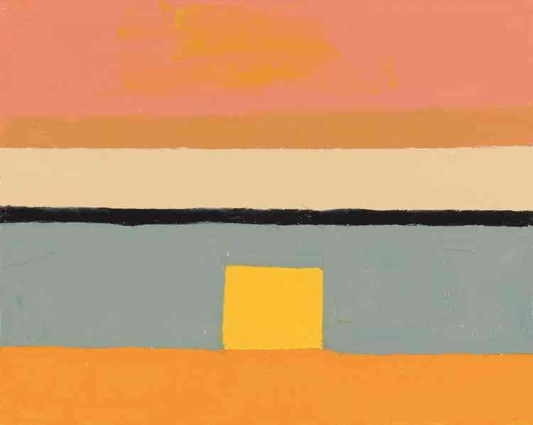 «Le carré constitue un motif récurrent dans son œuvre. Le format est petit et intime: Etel Adnan arrive à créer une harmonie des couleurs et attire le regard par un juste équilibre. On est figé un court instant face à cette œuvre qui apparaît comme un petit talisman, un petit joyau.»