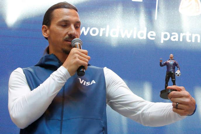 Zlatan Ibrahimovic, le 14 juin à Moscou, pour l'ouverture du Mondial et la promotion de la marqueVisa.