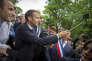 Emmanuel Macron participe à une cérémonie sur la tombe de Georges Clemenceau, à Mouchamps (Vendée), le 13 juin.