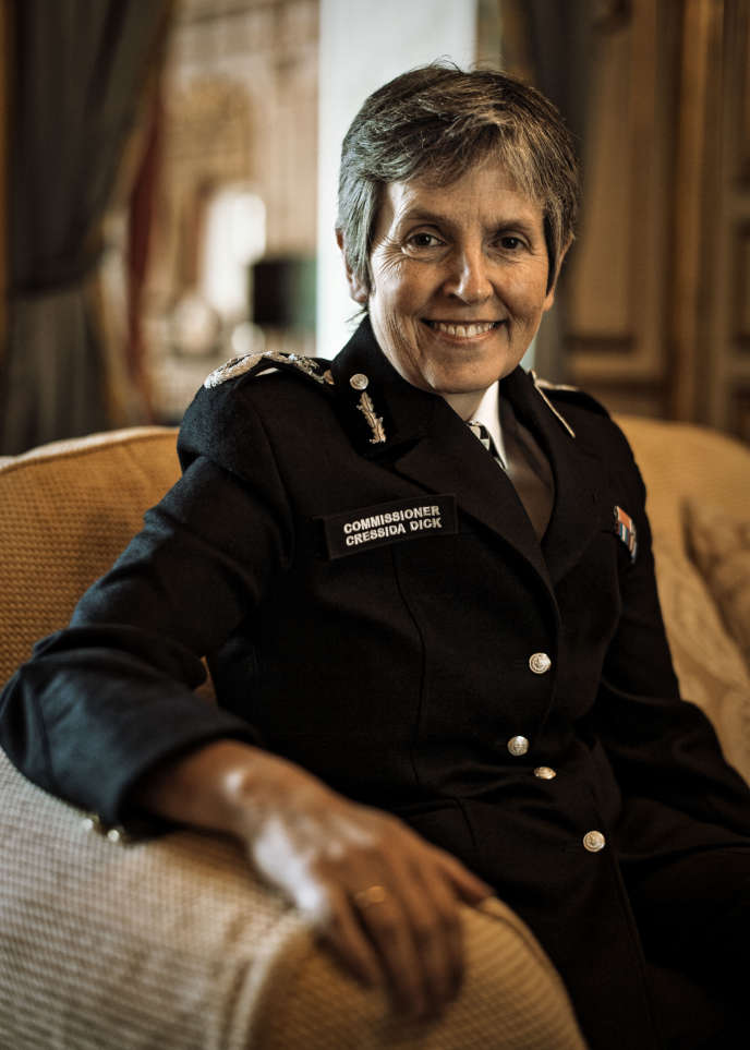 Cressida Dick, la patronne de Scotland Yard, dans les bâtiments de l'ambassade de Grande-Bretagne à Paris, le 12juin2018.
