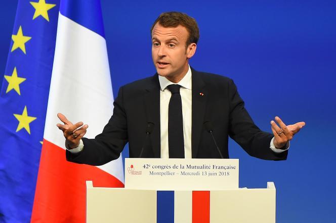 Emmanuel Macron a également annoncé une loi sur les retraites en 2019, lors du congrès de la Mutualité française, le 13 juin, à Montpellier.