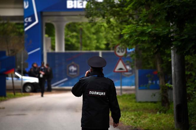 L'entrée de l'hôtel des Bleus, dans le village de Kostrovo, près d'Istra, le 10 juin.