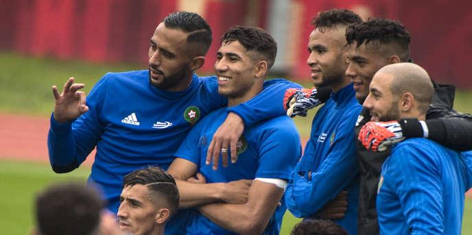 Des joueurs de l'équipe du Maroc lors d'un entrainement àVoronezh, le 13 juin 2018.
