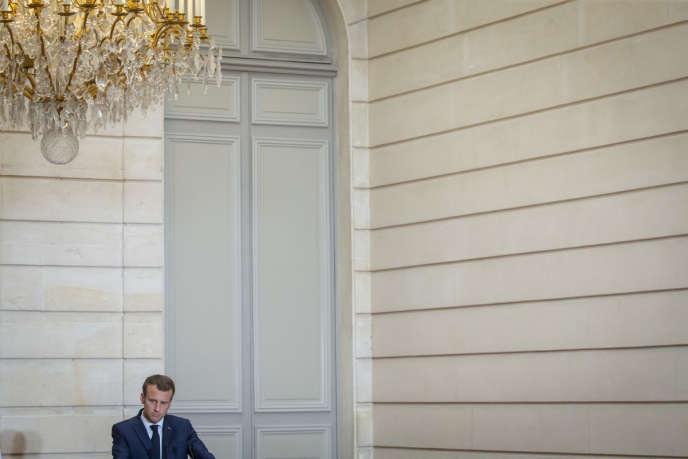 Emmanuel Macron, président de la République, au palais de l'Elysée, le 15 juin.