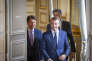 Emmanuel, Macron, président de la République, et le Premier ministre italien, Giuseppe Conte, participent à une conférence de presse à l'Elysée à Paris, vendredi 15 juin.