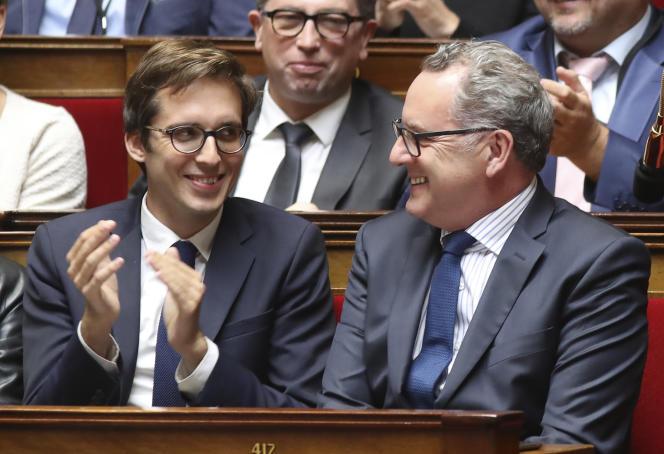 Les députés LRM Pacôme Rupin (à gauche) et Richard Ferrand, le 9 août 2017 à l'Assemblée nationale.