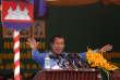 Le premier ministre cambodgien, Hun Sen, lors d'un discours auxouvriers d'une manufacture de textile, dans la province de Kandal, le30 mai 2018.