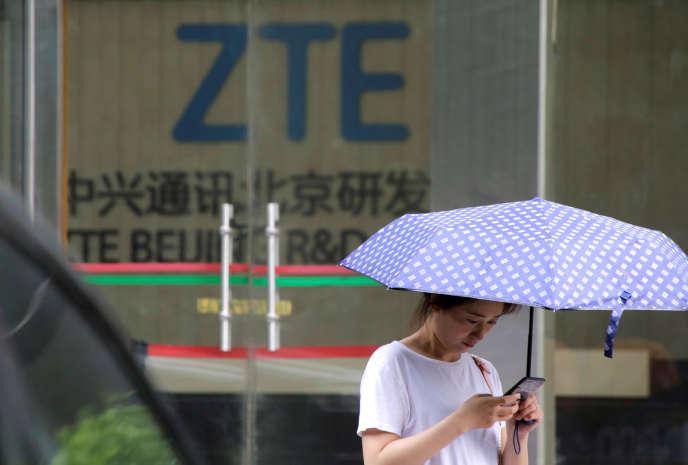 Un centre de recherche et développement de l'équipementier télécoms chinois ZTE, à Pékin, le 13 juin 2018.