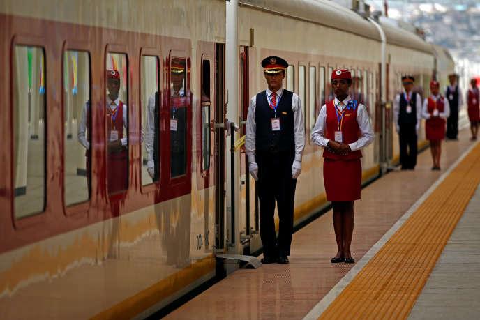 Lors de l'inauguration du chemin de fer entre Djibouti et Addis-Abeba, le 5octobre 2016.