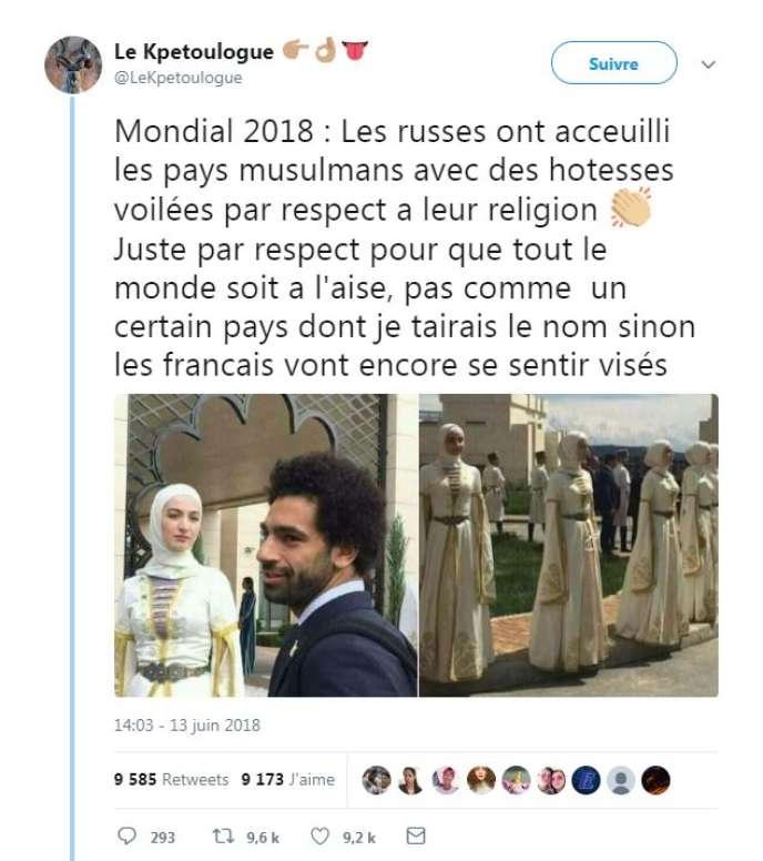 Capture d'écran d'un compte Twitter diffusant des images d'hôtesses accueillant les joueurs de l'équipe égyptienne de football pour la Coupe du monde 2018.