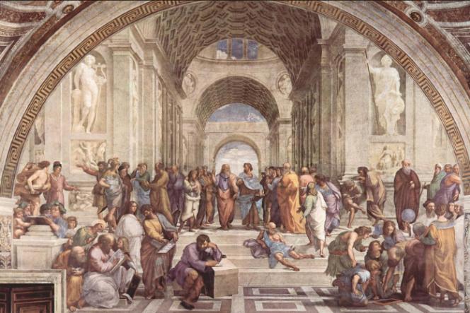 Sur cette fresque de Raphaël, intitulée L'école d'Athènes, figurent les grands philosophes de l'Antiquité, parmi lesquels Socrate, Aristote, Platon.