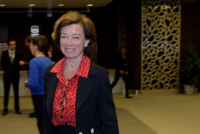 Anne-Marie Couderc, présidente non exécutive par intérim d'Air France-KLM, lors de l'assemblée générale du groupe, le 15 mai.
