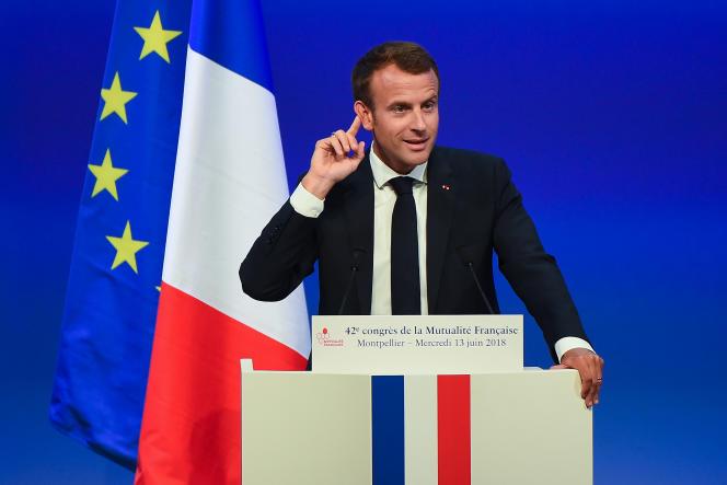 Le président de la République, Emmanuel Macron, lors du congrès de la Mutualité française, à Montpellier, le 13 juin.