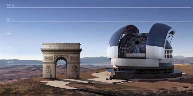Vue d'artiste comparant le futur Extremely Large Telescope à l'arc de Triomphe.