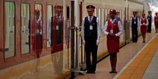 Lors de l'inauguration de la nouvelle ligne ferroviaire reliant Addis-Abeba, la capitale éthiopienne, à Djibouti, sur la mer Rouge, en octobre 2016.