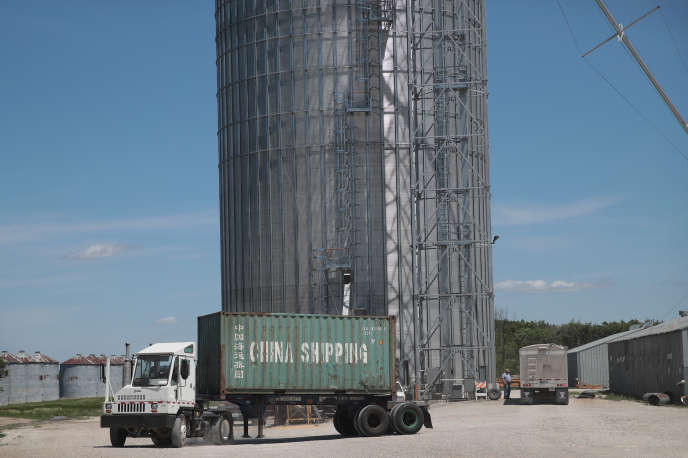 Un conteneur chargé de soja destiné à la Chine, dans l'Illinois, aux Etats-Unis, le 13 juin.