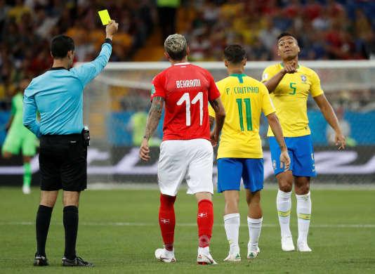 Le premier jaune de Casemiro, contre la Suisse. Le deuxième sera contre le Mexique.