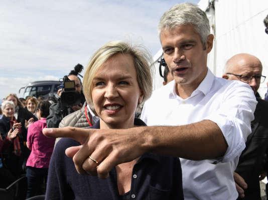 Virginie Calmels, adjointe au maire de Bordeaux et conseillère régionale de Nouvelle-Aquitaine, avec le président des Républicains, Laurent Wauquiez, en septembre 2017.