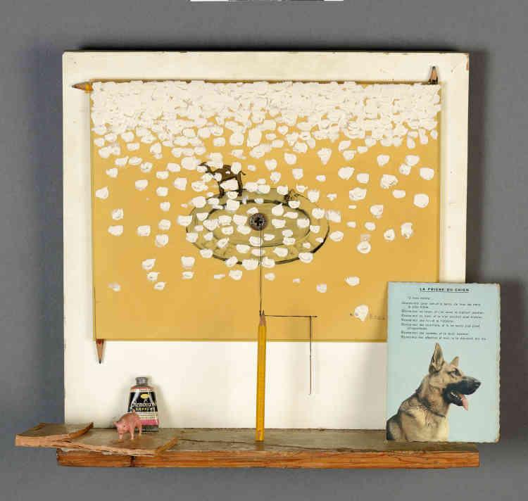 «Daniel Spoerri est l'un des deux premiers artistes rencontrés par Erik Dietman (avec Robert Filliou) quand il arrive à Paris en 1959. Malgré les crayons et un tube de peinture présents dans l'œuvre, Erik Dietman ironise amicalement sur le fait que Daniel Spoerri ne peignait et ne dessinait pas.»