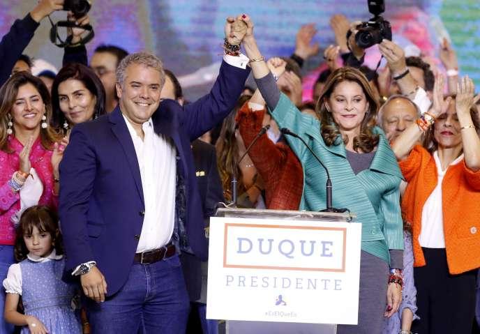 Le président élu de la Colombie, Ivan Duque, et la vice-présidente élue, Marta Lucia Ramirez, dimanche 17 juin à Bogota.
