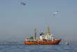 L'«Aquarius», le bateau de l'association SOS-Méditerranée, arrive en vue du port de Valence en Espagne, le 17 juin.