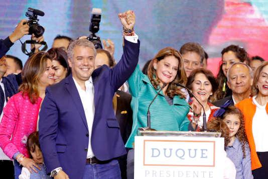 Le président élu de la Colombie, Ivan Duque, et la vice-présidente élue, Marta Lucia Ramirez, dimanche17juin, à Bogota.