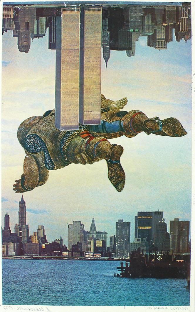 «Suspendu malgré lui» (1977), de Roman Cieslewicz, photomontage, série «Changement de climat», collection Irène et Jacques Elbaz.