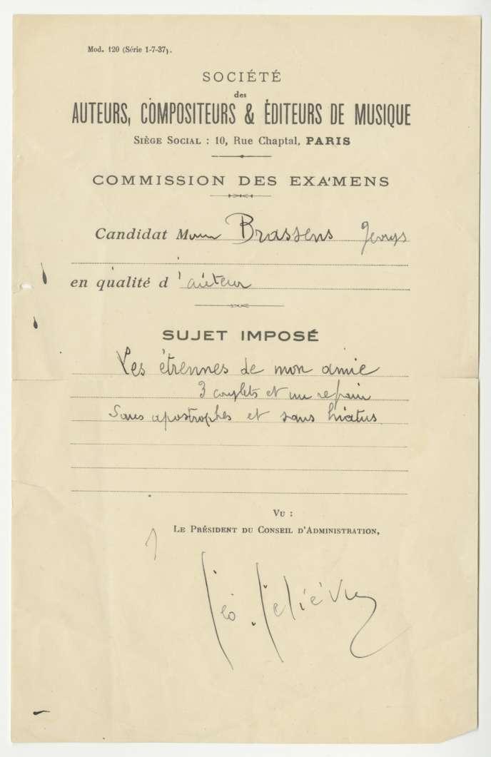 La feuille d'examen d'entrée de Brassens, le 19 janvier 1942, avec un texte, «Les Etrennes de mon amie», et cette précision : «3 couplets et un refrain sans apostrophes et sans hiatus».