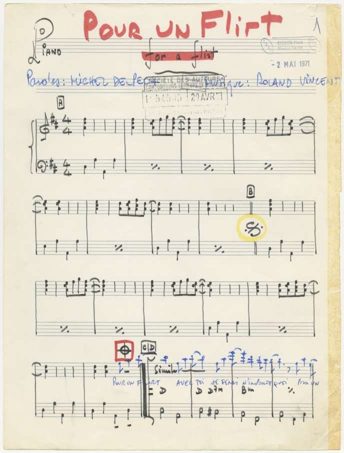 Partition de« Pour un flirt», paroles de Michel Delpech et musique de Roland Vincent.