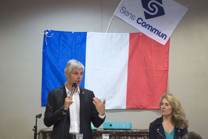 Laurent Wauquiez, président du parti Les Républicains, etLaurence Trochu, présidente de Sens commun, à Lyon, en juin.