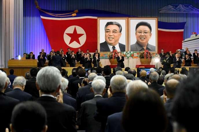 Lors d'une réunion de Chosen Soren, association pro-Pyongyang au Japon, le 26 mai à Tokyo.
