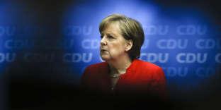 Angela Merkel, lors de la conférence de presse, donnée à l'issue des réunions avec les dirigeants de la CDU, à Berlin, le 18 juin.