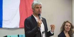 Le président du parti Les Républicains, Laurent Wauquiez prend la parole devant les militants du mouvement Sens commun, à Lyon, le 18 juin.
