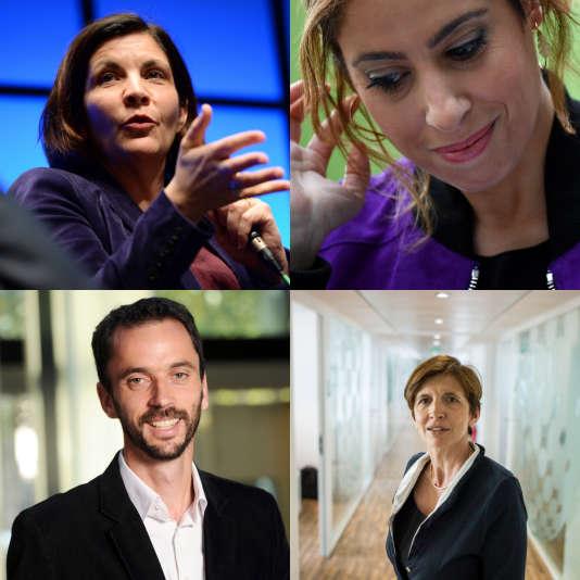 En haut à gauche, Céline Pigalle; à droite, Léa Salamé. En bas à gauche, Luc Bronner; à droite, Michèle Léridon.