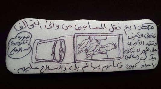 Image non datée d'un dessin transmis à l'agence de presse AP. La légende en arabe dit: «C'est ainsi qu'ils transportent les prisonniers de et vers la coalition. Entassés en nombre, les yeux bandés et menottés à l'arrière d'un pick-up Land Cruiser comme s'il s'agissait d'animaux et sous la menace d'une arme à feu.»