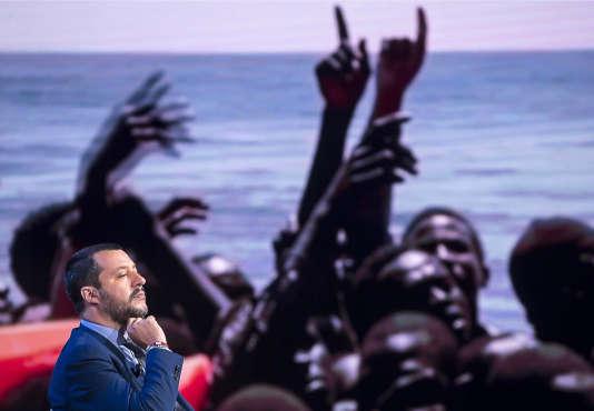 Le ministre de l'intérieur italien, Matteo Salvini, sur un plateau de la RAI, le 20 juin.