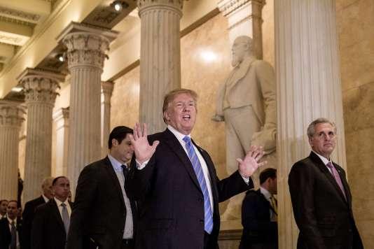 Donald Trump quitte le Capitole, après une réunion avec des membres républicains du Congrès, à Washington, le 19 juin.