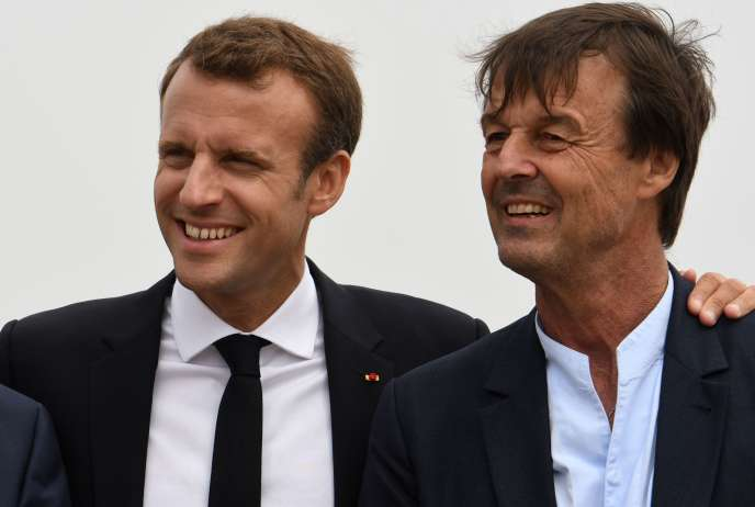 Emmanuel Macron et Nicolas Hulot en viste au cap Fréhel le 20 juin.