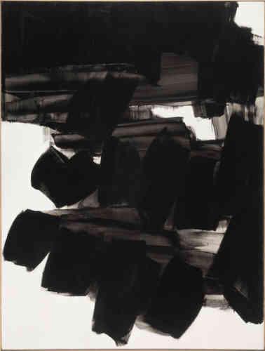 """«Les années 1963-1965 sont, pour Soulages, celles de la réalisation de grands formats, où les contrastes de noir et de blanc jouent un rôle déterminant. Renonçant au raclage, Soulages dépose sur des toiles posées au sol une peinture fluide qu'il étend ensuite par grands aplats, à l'aide d'une brosse, en laissant en réserve d'importantes surfaces. Les variations de vitesse, de direction et de profondeur des coups de brosse donnent son rythme à la toile, qui se construit par approches successives. C'est ce que Soulages appelle répondre aux """"provocations"""" de la matière. »"""