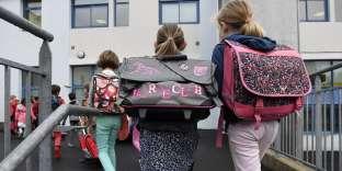 Lors de la rentrée des classes dans une école de Quimper, le 4 septembre 2017.