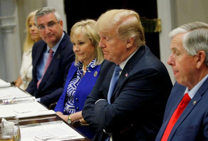 Le président Donald Trump lors d'un déjeuner de travail à la Maison Blanche, le 21 juin.