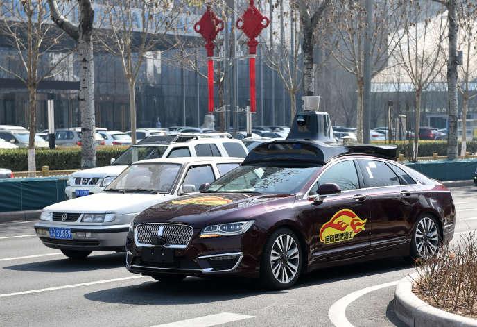 Une voiture autonome à Pékin, en mars.
