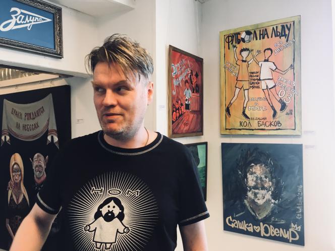 Nikolaï Vassiliev, tee-shirt du groupe «NOM» sur les épaules, voisine avec Alexandre Kerzhakov, en bas à droite.