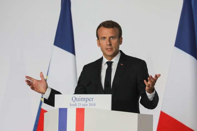 Emmanuel Macron à Quimper, le 21 juin.