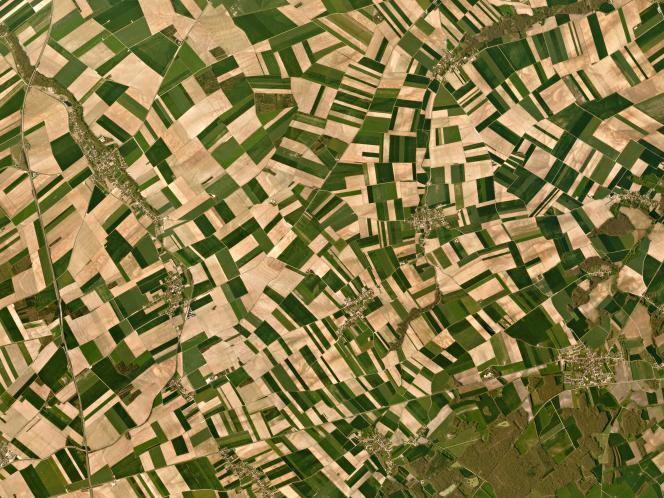 Des données satellites permettent de mesurer l'état de santé des cultures et leur rendement. Vue satellite de la campagne française.