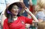 Une supportrice vietnamienne du Portugal, lors du match contrele Maroc,au stade Loujniki,à Moscou,le 20juin.